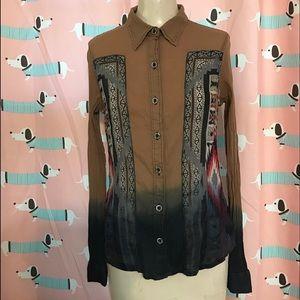 Aztec Ombré Button Up Blouse - 100% Cotton